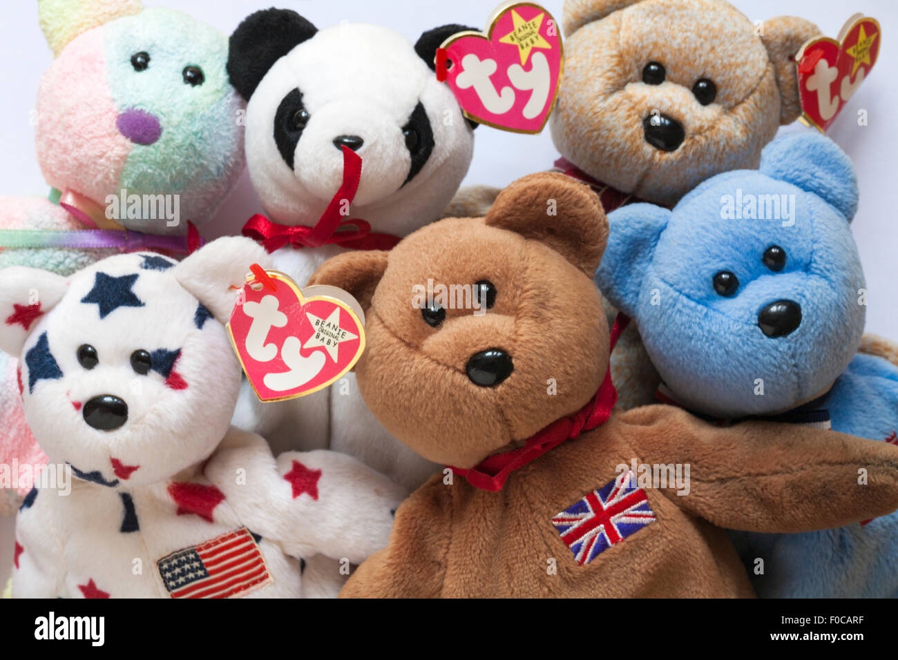 a0c6d32fe51 selection of ty original beanie baby teddy bears set on white background -  Stock Image