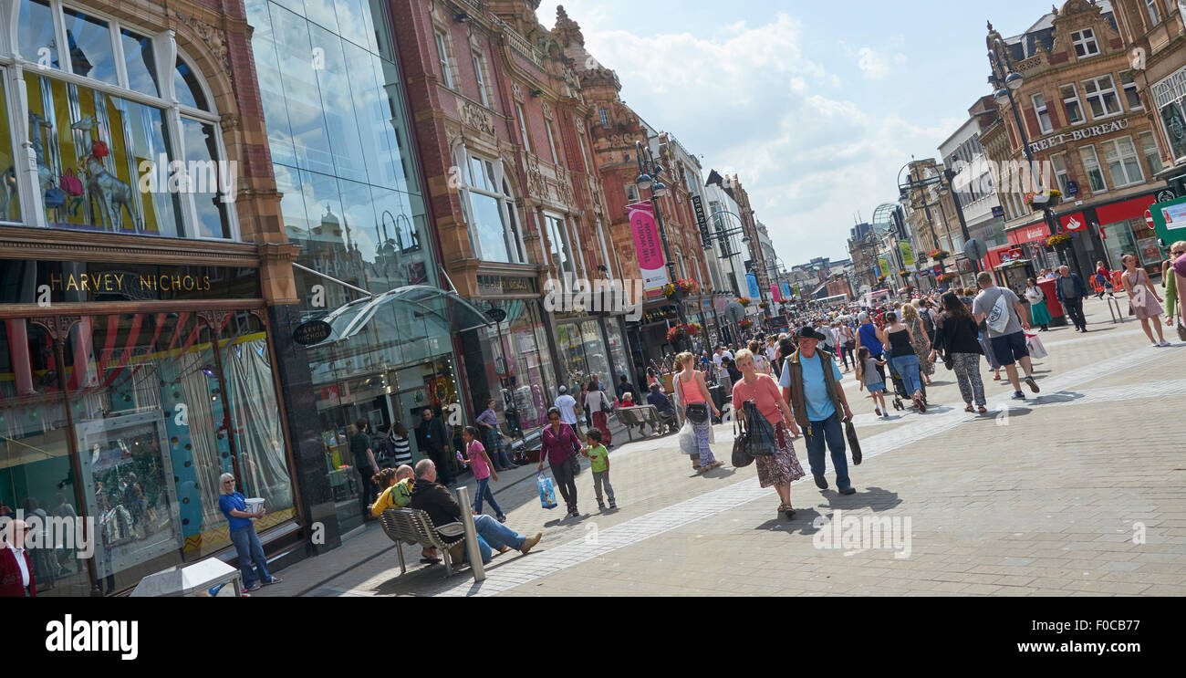 Briggate Leeds, the heart of the city centre retail area, West Yorkshire, UK - Stock Image