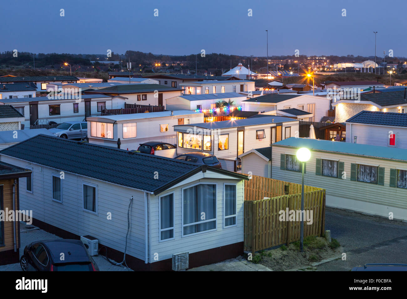 Mobile homes on a trailer park at dusk Stock Photo