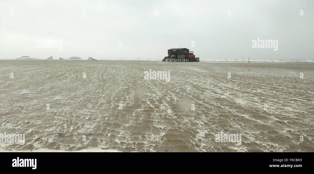 Sturm, Strand, Flut, Sankt Peter-Ording Stock Photo