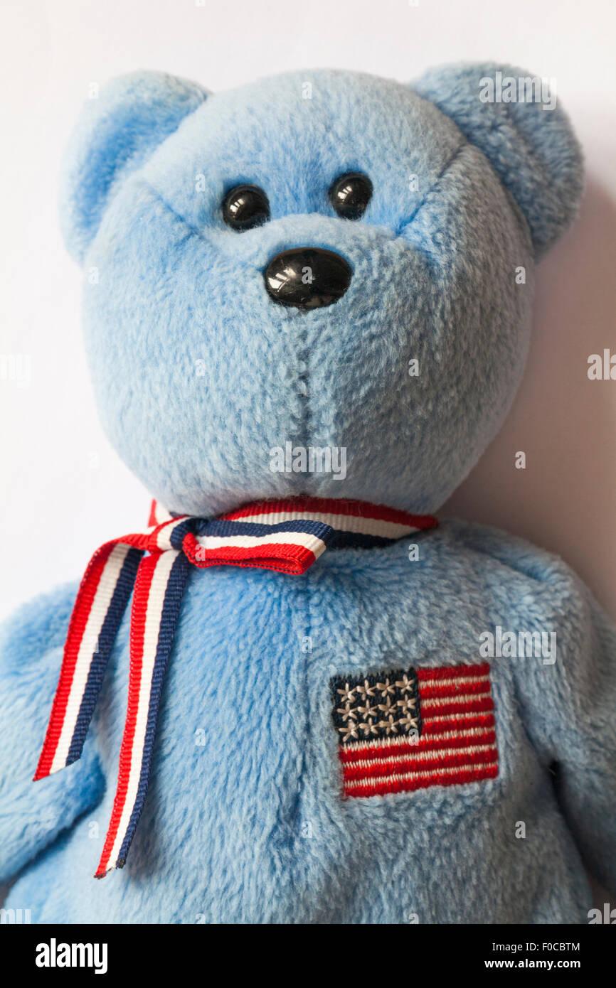 0b3e7b0451f America ty beanie baby teddy bear set on white background - Stock Image