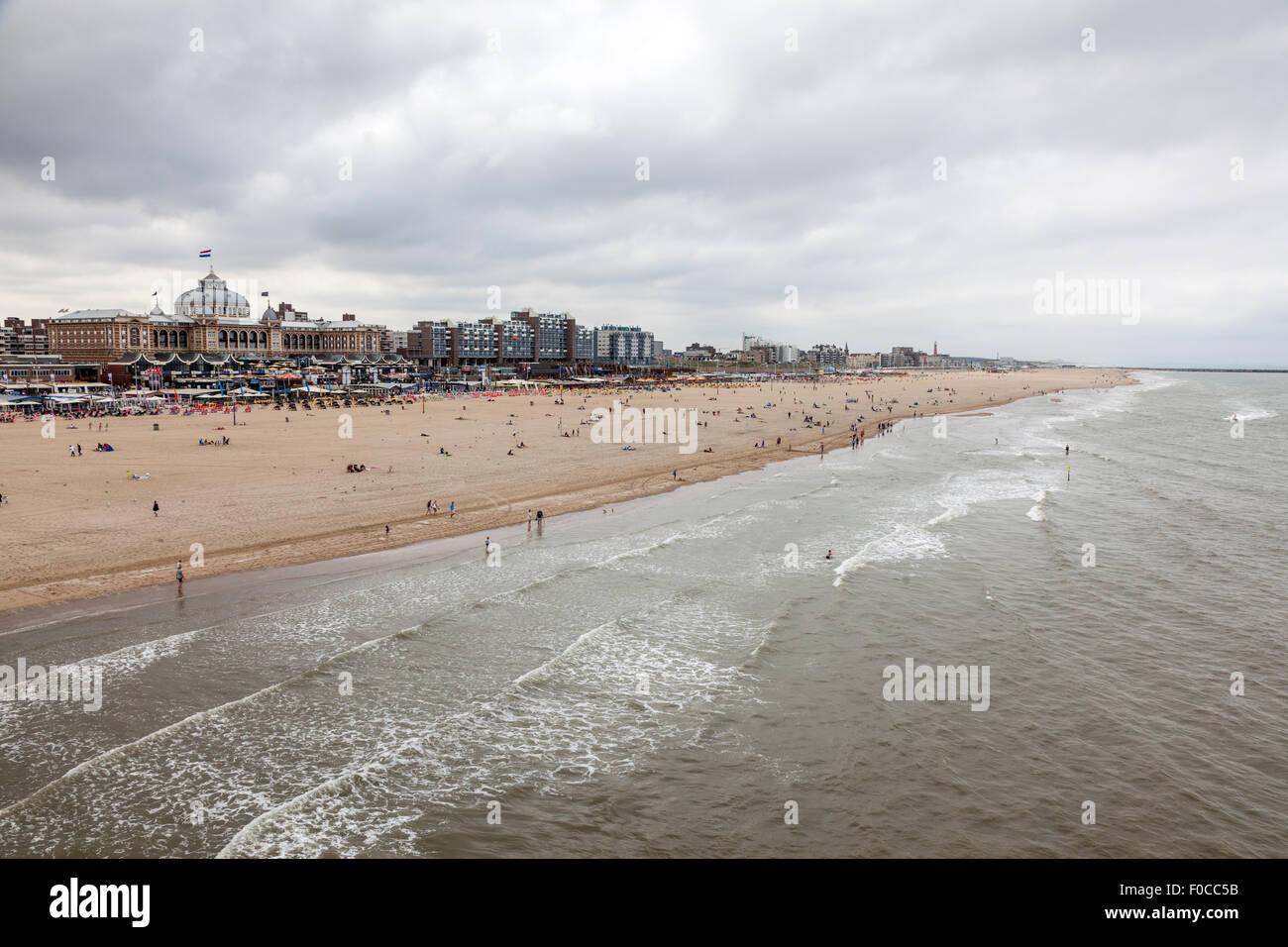 North Sea coast in Scheveningen, Holland - Stock Image