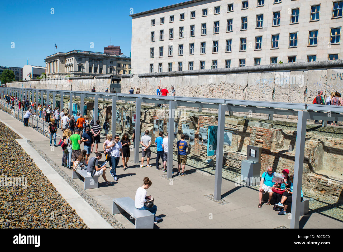 Section of the Berlin wall by the Topography of Terrors museum - Stock Image