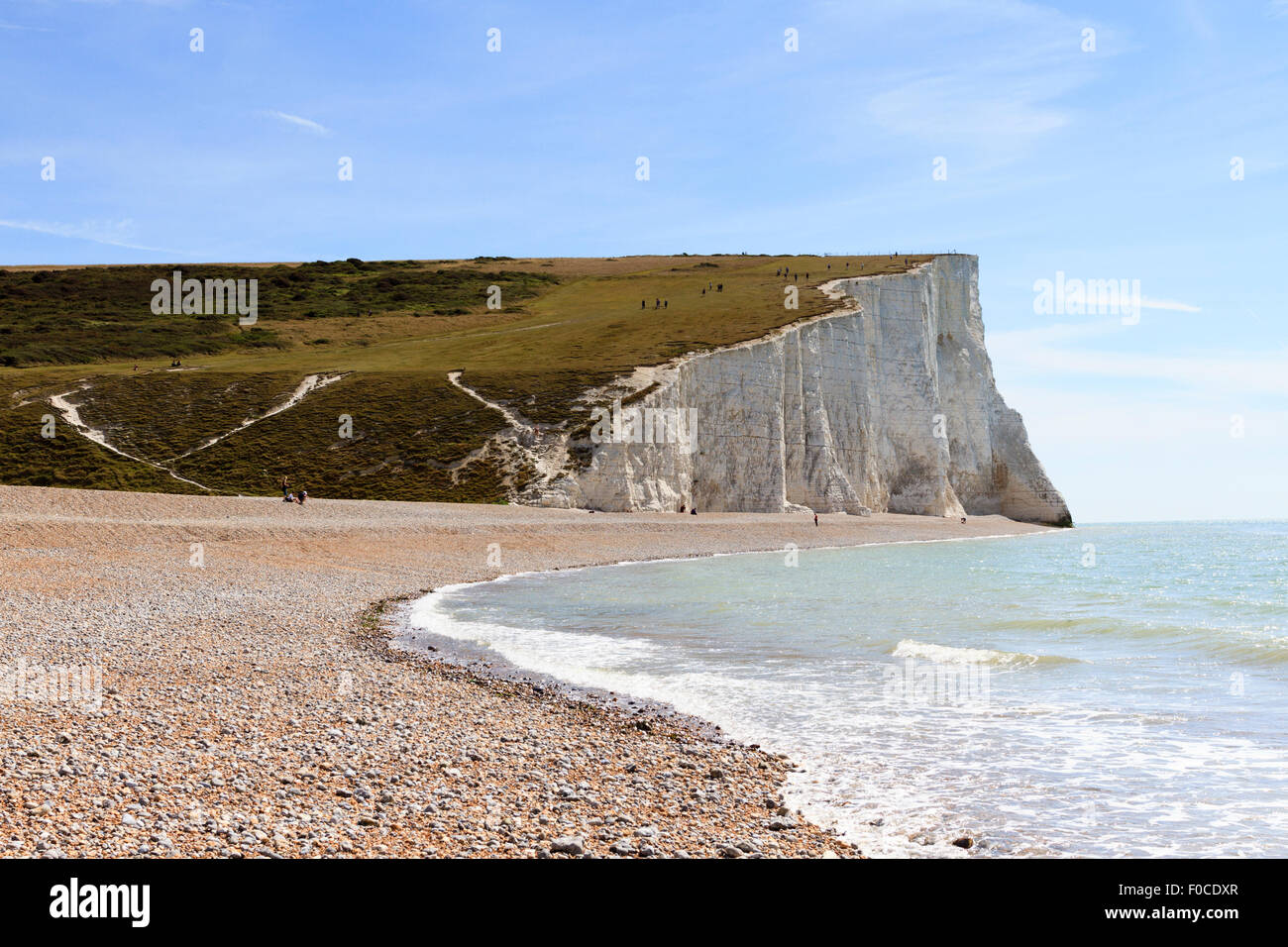 View of the Seven Siters as seen from the beach at Cuckmere Haven, East Sussex, england, UK Stock Photo