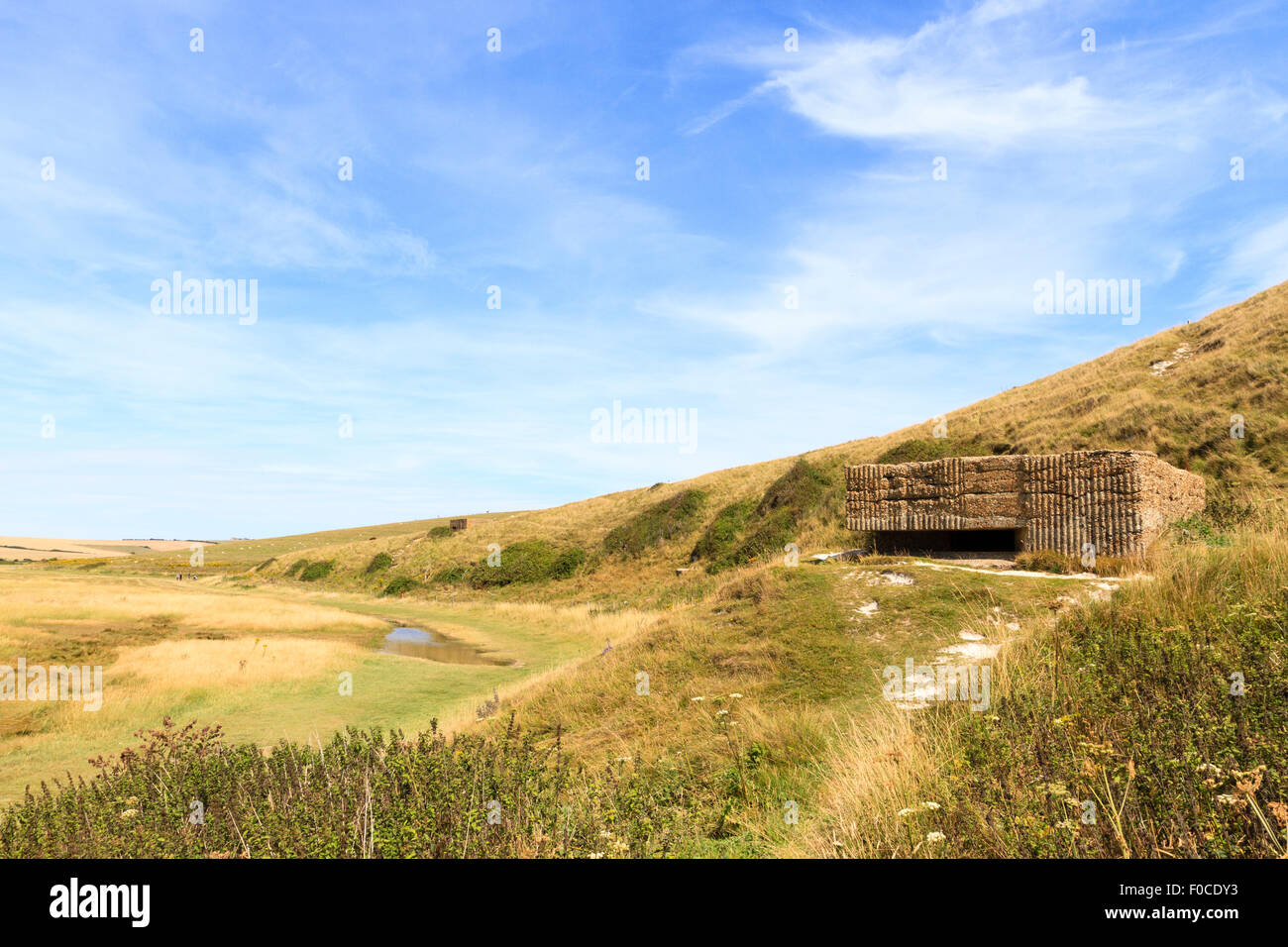 WW2 pillbox at Cuckmere Haven, East Sussex, England, UK - Stock Image