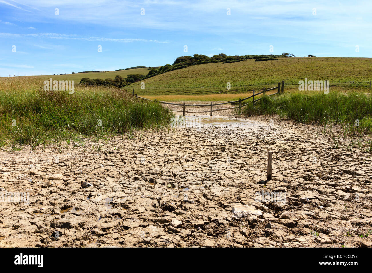Cracked, dried out earth at Cuckmere Haven, East Sussex, England, UK - Stock Image