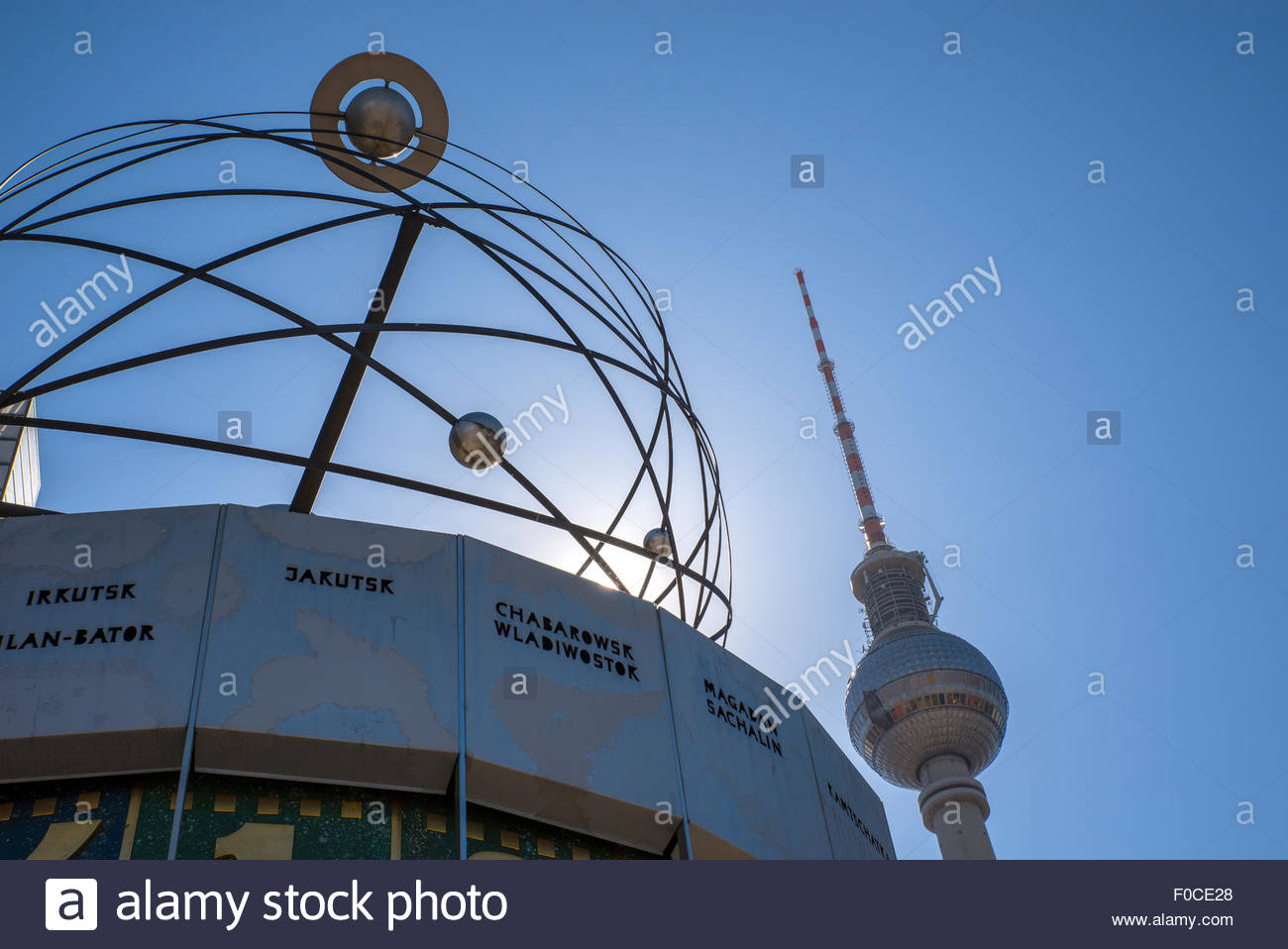 The Weltzeituhr, World time Clock in Berlin, Germany Stock Photo