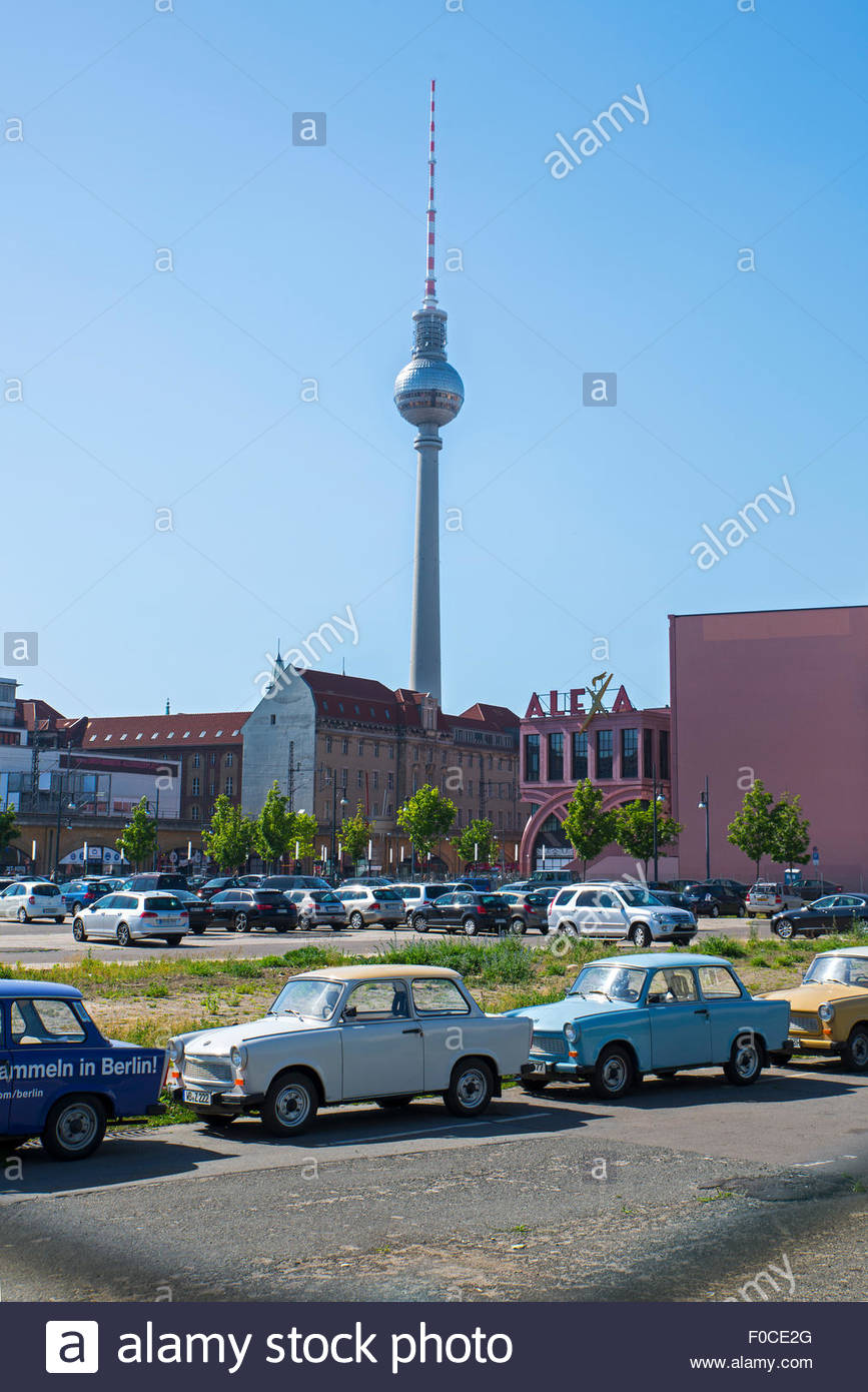 Trabi car tours, Berlin, TV tower in the background - Stock Image