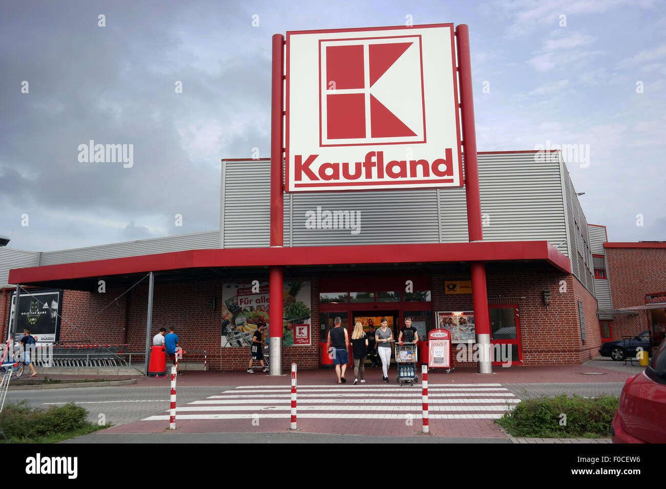 Entry of a Kaufland Hypermarket, a German discount retail chain. - Stock Image