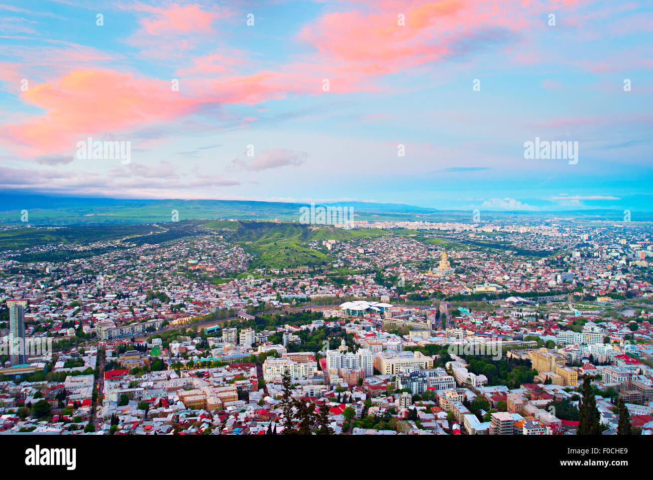 Skyline of Tbilisi at sunset. Top view. Georgia - Stock Image