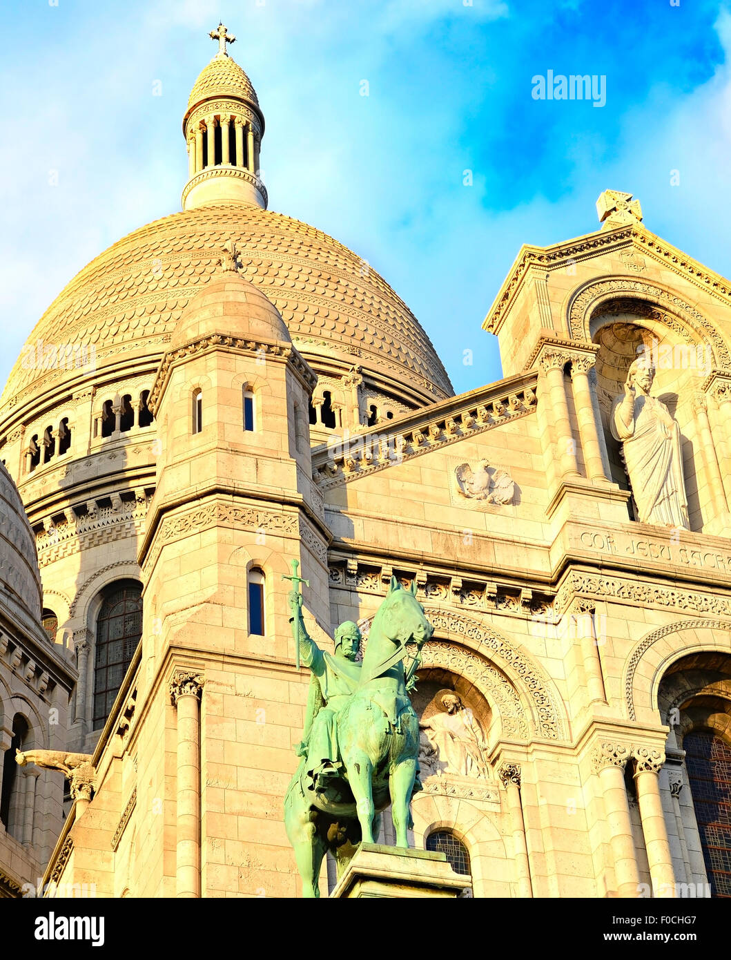 Details of the Basilica of the Sacred Heart of Jesus on Montmartre hill, Paris - Stock Image