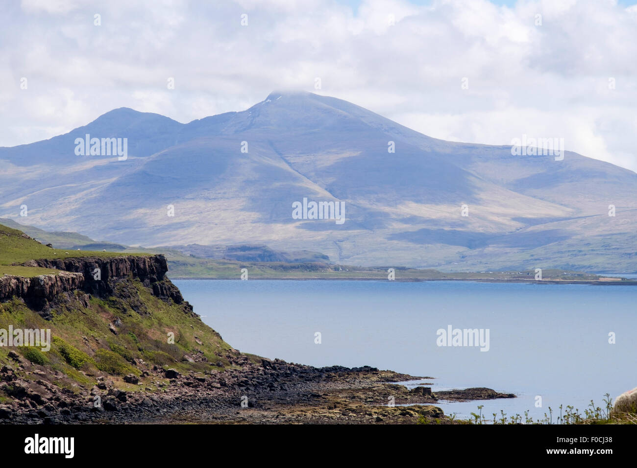 View across across Loch Tuath to Ben More highest mountain. Kilninian Isle of Mull Inner Hebrides Western Isles - Stock Image
