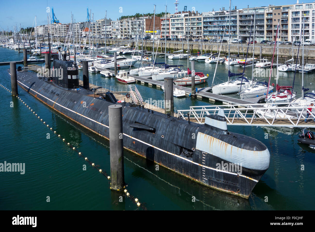 Russian diesel-electric submarine B-143 / U-480 Foxtrot type 641 at the Seafront Maritime Theme Park in Zeebrugge, - Stock Image
