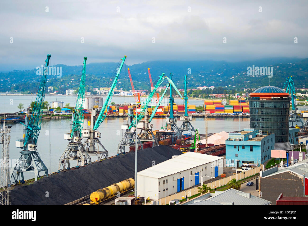 Aerial view of Batumi industrial sea port. Georgia - Stock Image