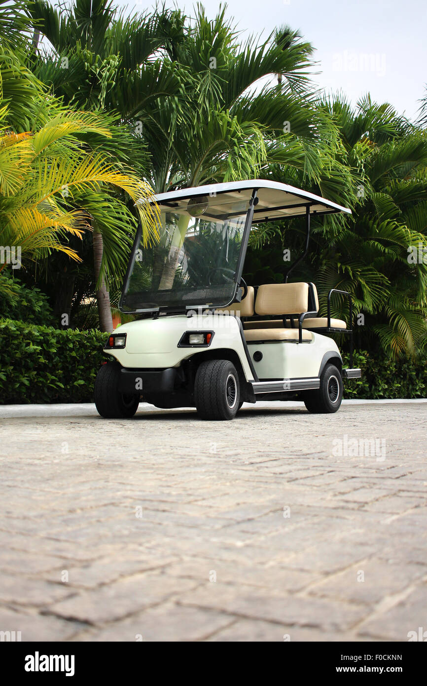Golf cart at the tropical resort - Stock Image