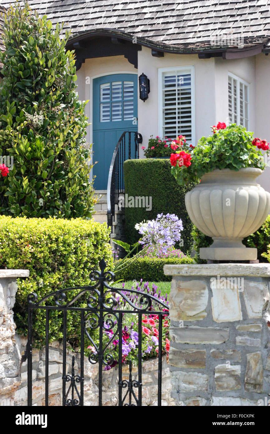 Front door of beautiful suburban house - Stock Image