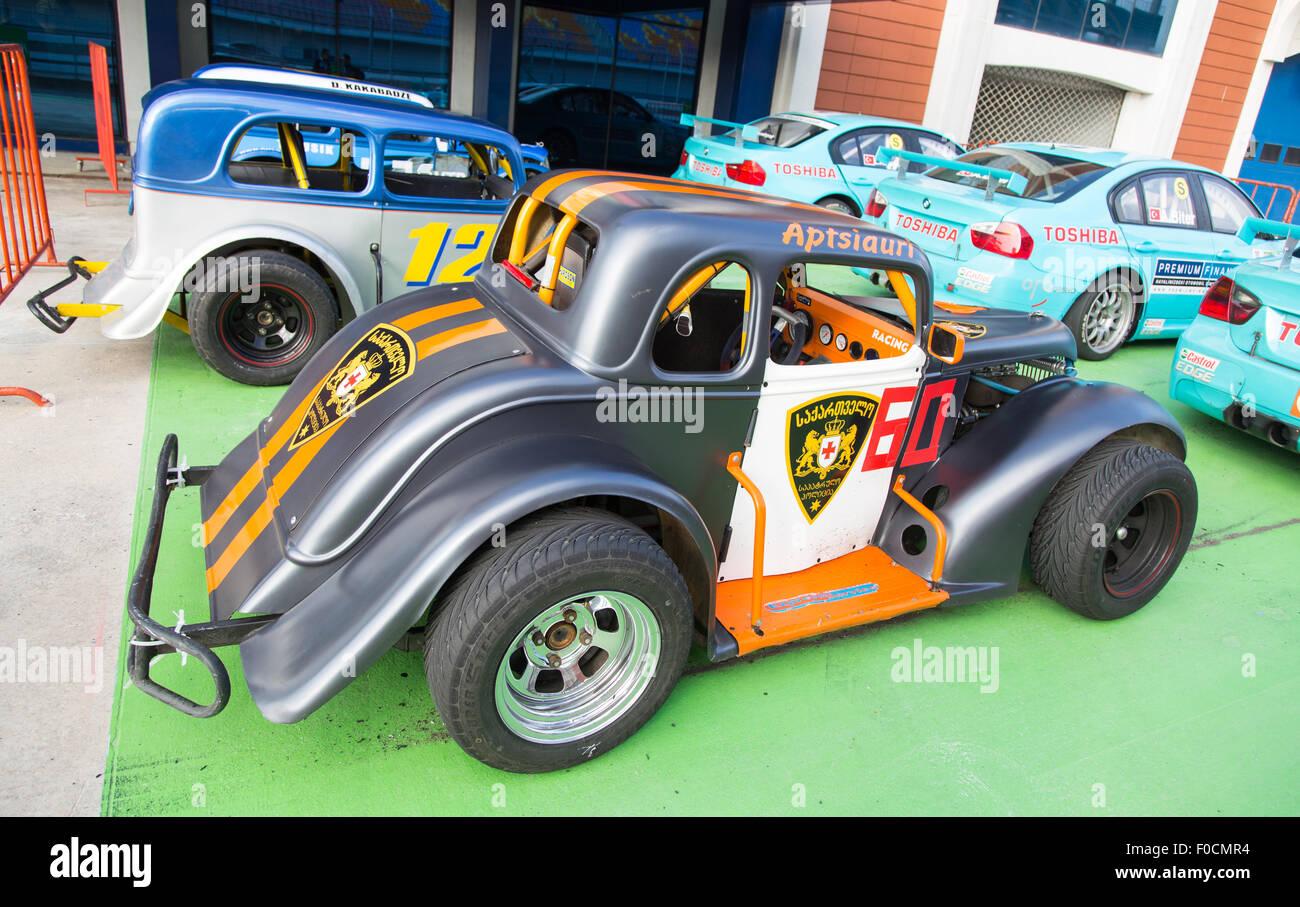 ISTANBUL, TURKEY - NOVEMBER 02, 2014: Aptsiauri drives a Legends Car in Istanbul Park Circuit - Stock Image