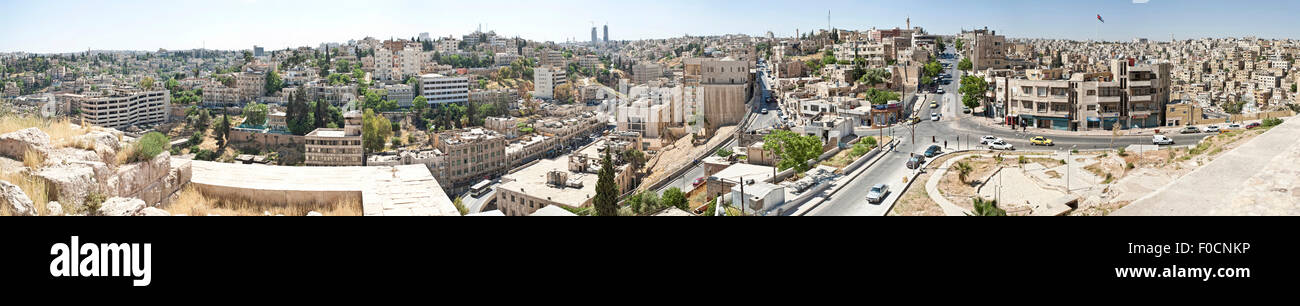 Panorama shot from the Amman Citadel facing north west. Featuring the King Abdullah I Mosque and the Raghadan Flagpole - Stock Image