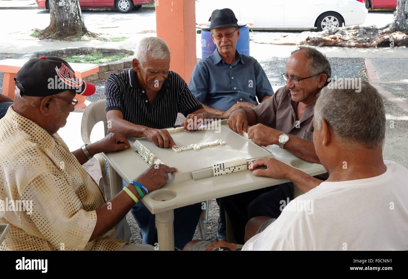 Domino players San German Puerto Rico - Stock Image