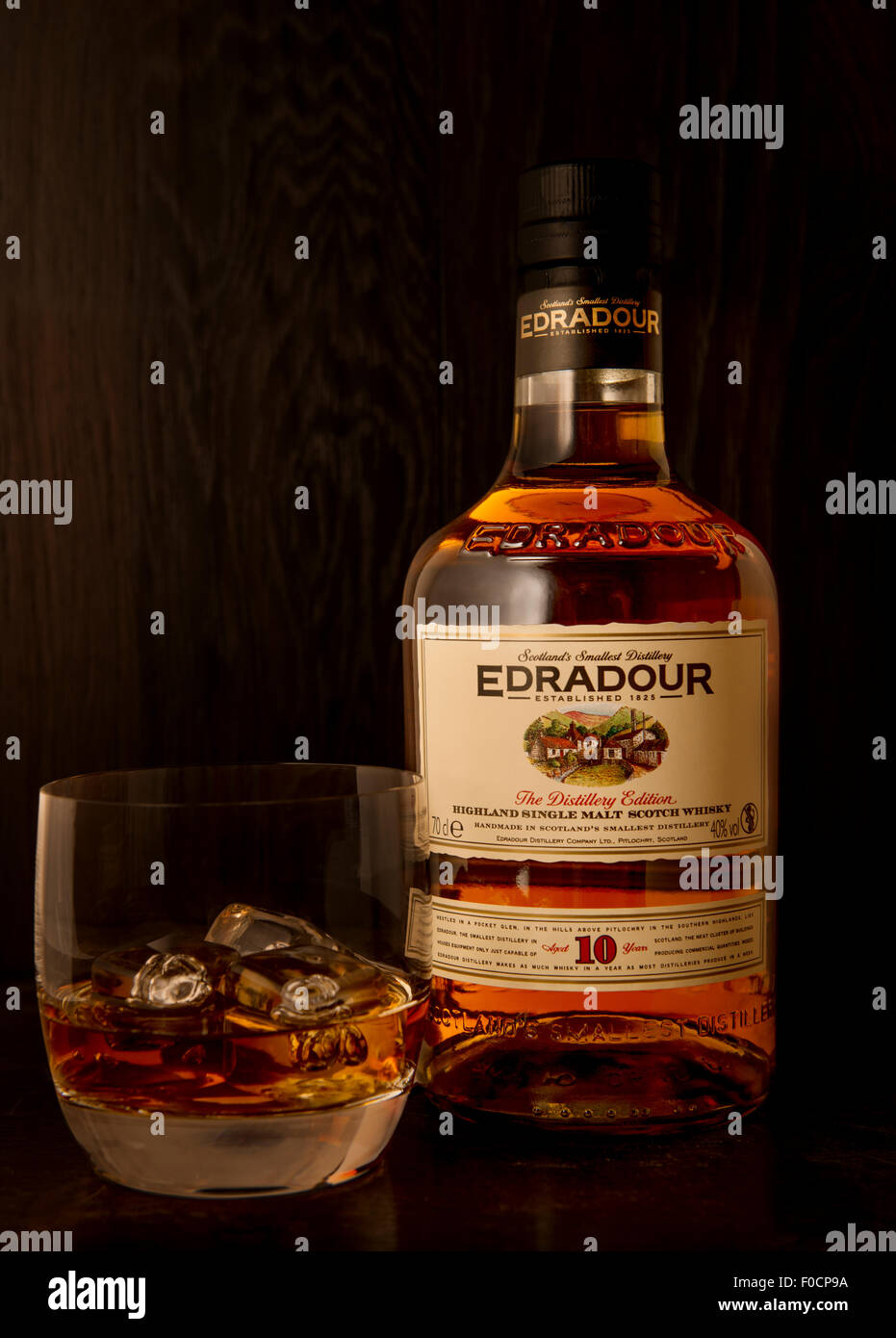 Edradour single malt scotch whisky from the smallest distillery in Scotland - Stock Image