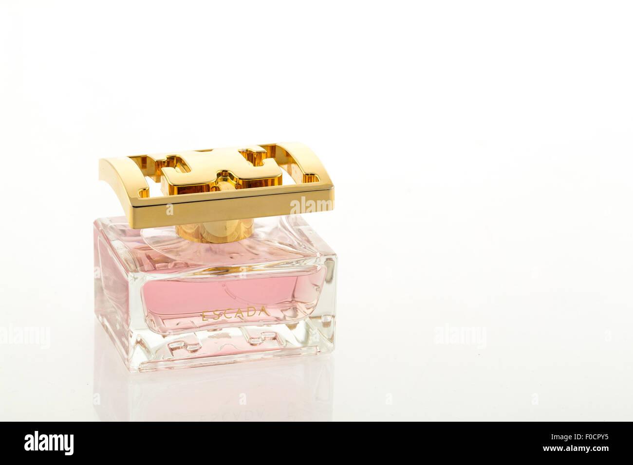 Escada perfume bottle - studio shot with a white background - Stock Image