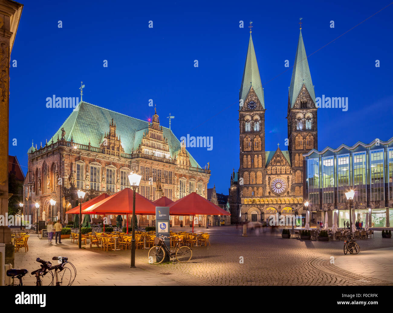 Bremen Market Square situated in the center of the Hanseatic City of Bremen, Germany and is one of the oldest public - Stock Image