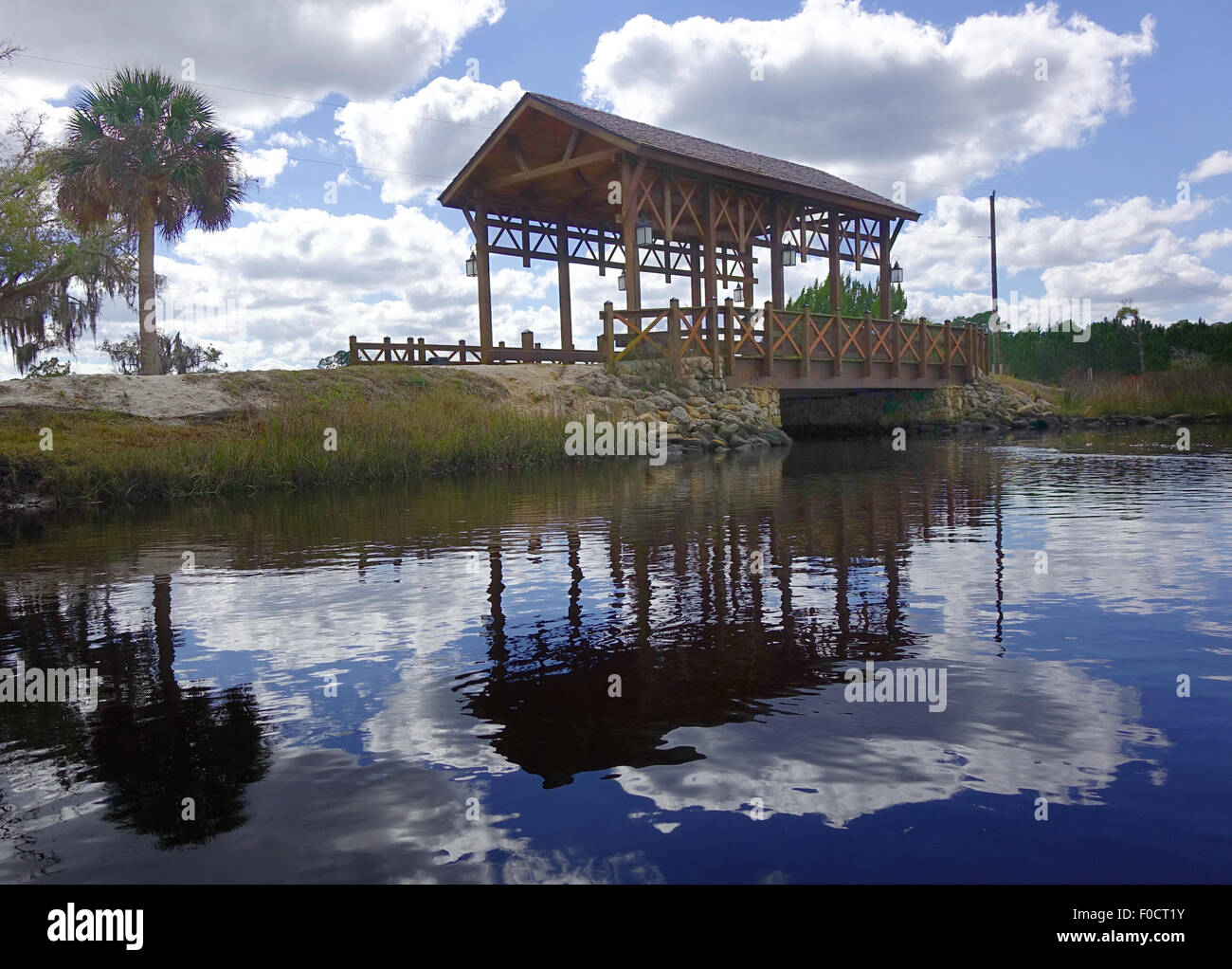 Covered bridge over Styles Creek, Palm Coast, Flagler County, Florida - Stock Image
