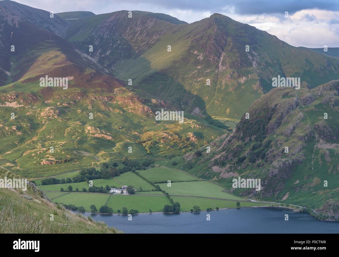 Lad Hows, Whiteless Pike and Rannerdale from Mellbreak in the English Lake District national park - Stock Image