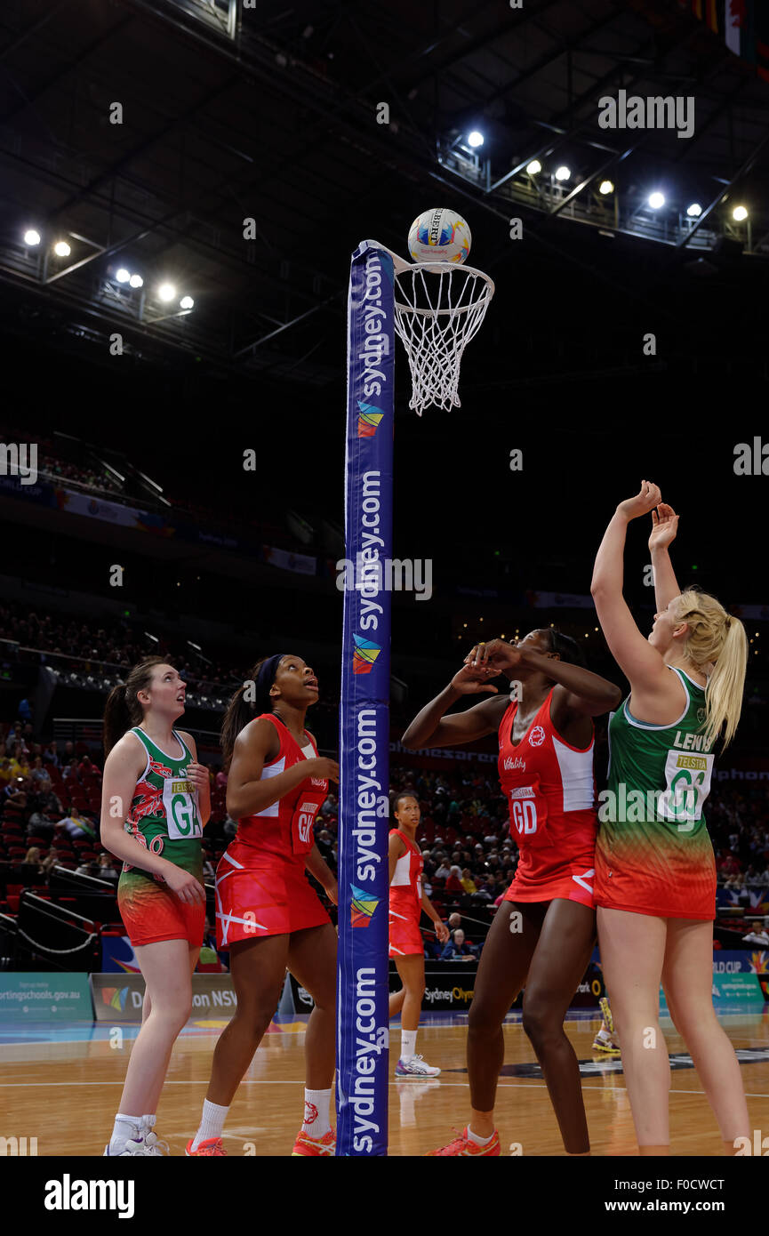 Sydney, Australia. 12th Aug, 2015. Action during the Wales versus England netball match. Credit:  MediaServicesAP/Alamy - Stock Image