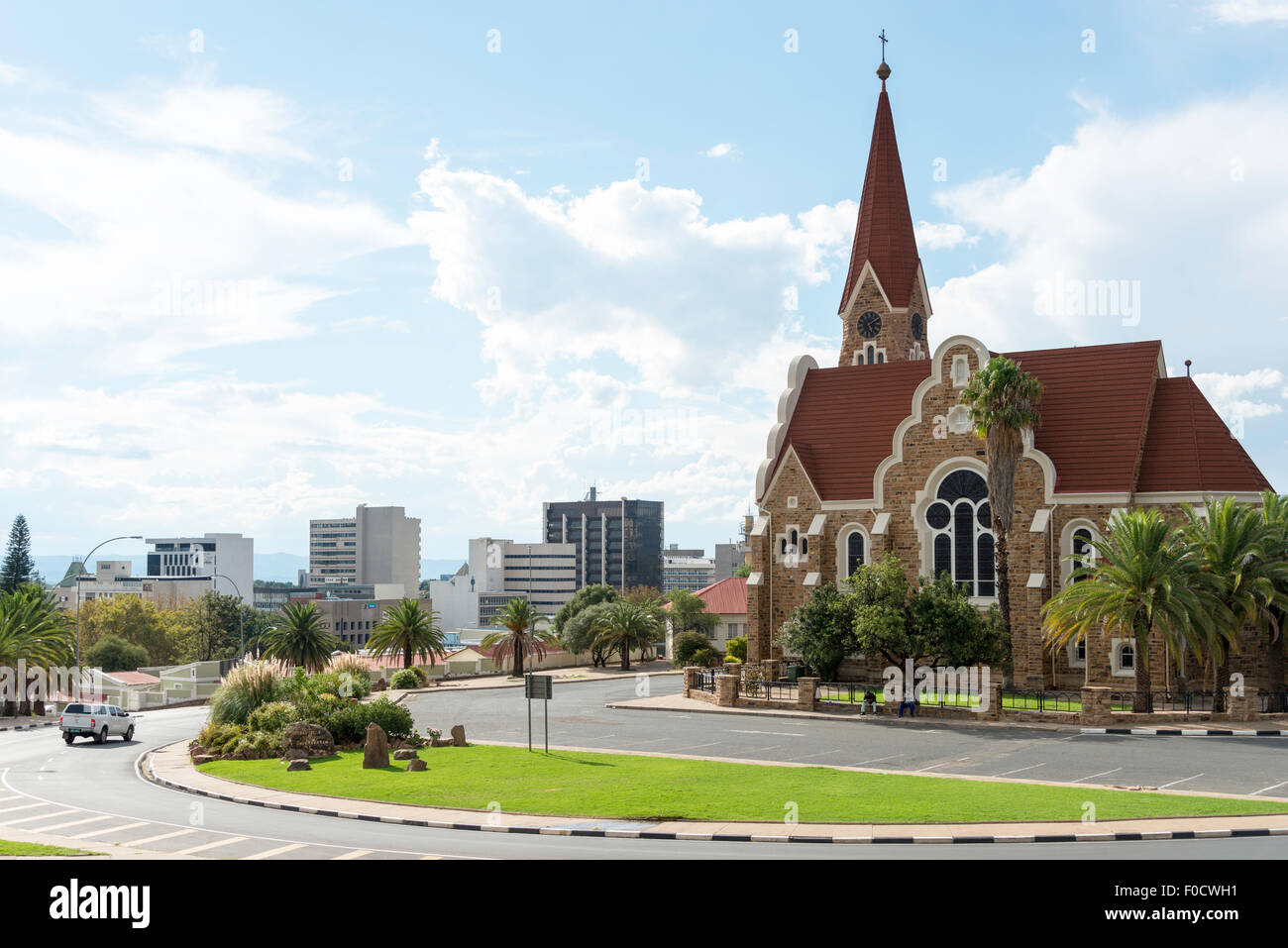 City view and Lutheran Christ Church, Fidel Castro Street, Windhoek (Windhuk), Khomas Region, Republic of Namibia - Stock Image