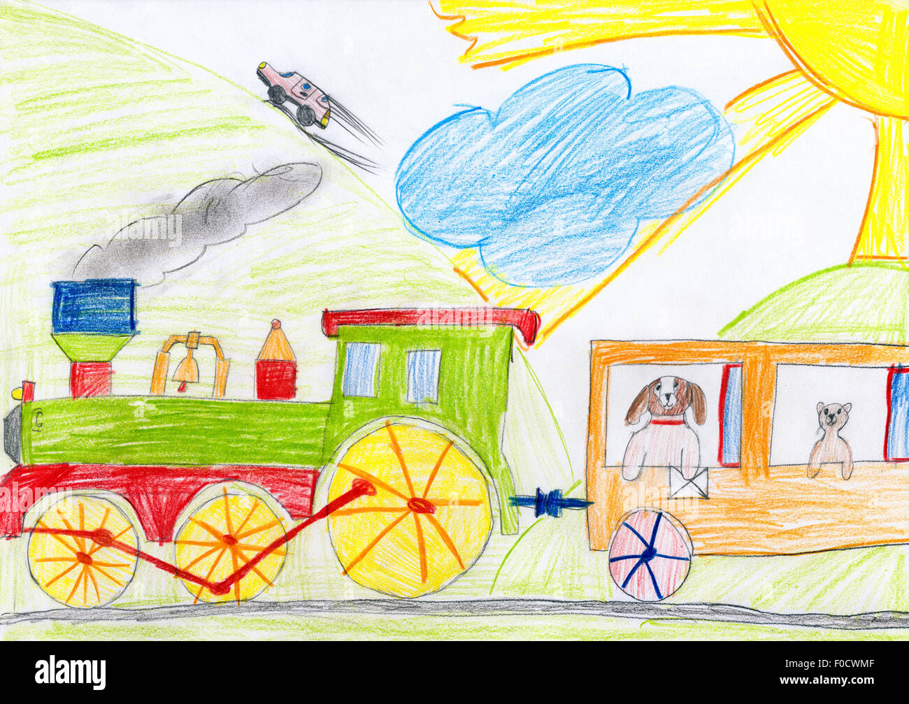 dog rides with a letter on the train. child drawing. - Stock Image