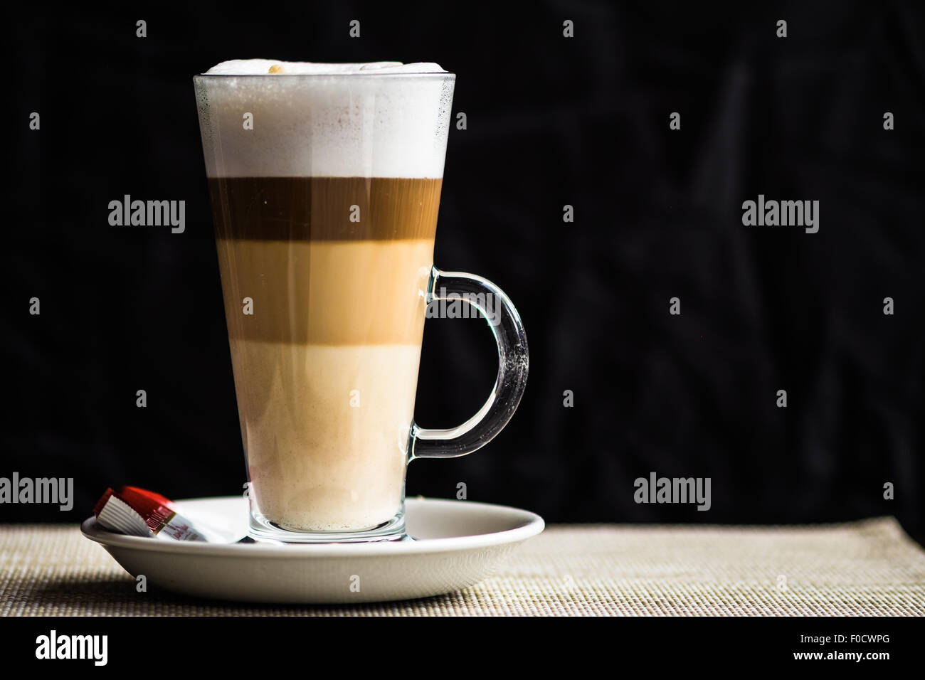 Layered Latte Coffee In A Glass Mug Stock Photo Alamy