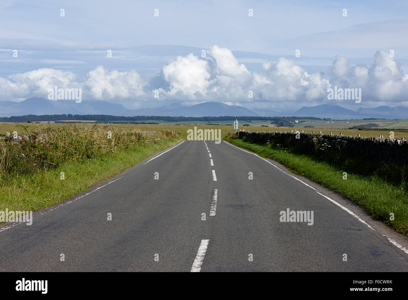 a4080 rural a road through rural anglesey north wales uk - Stock Image