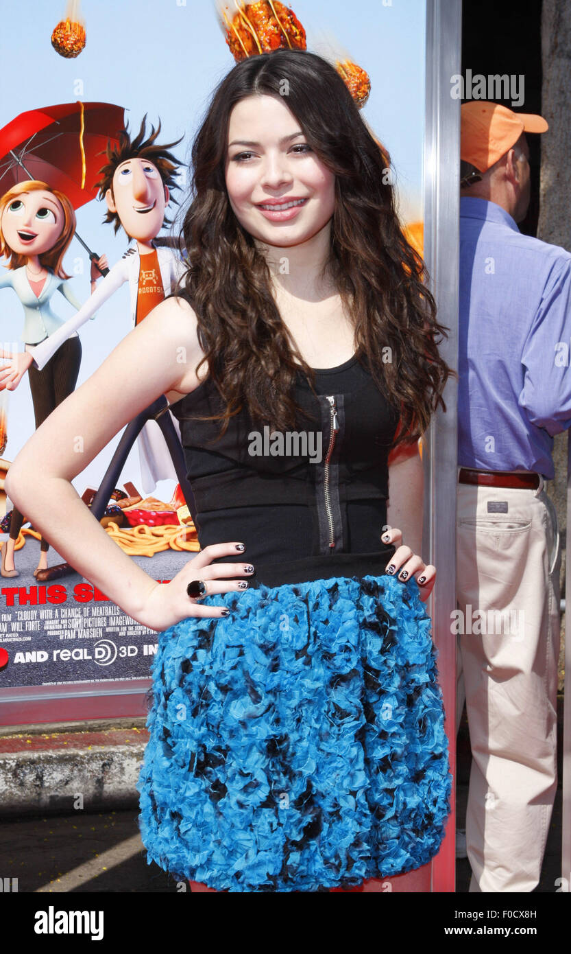 Miranda Cosgrove at the Los Angeles premiere of 'Cloudy With A Chance Of Meatballs' held at the Mann Village - Stock Image