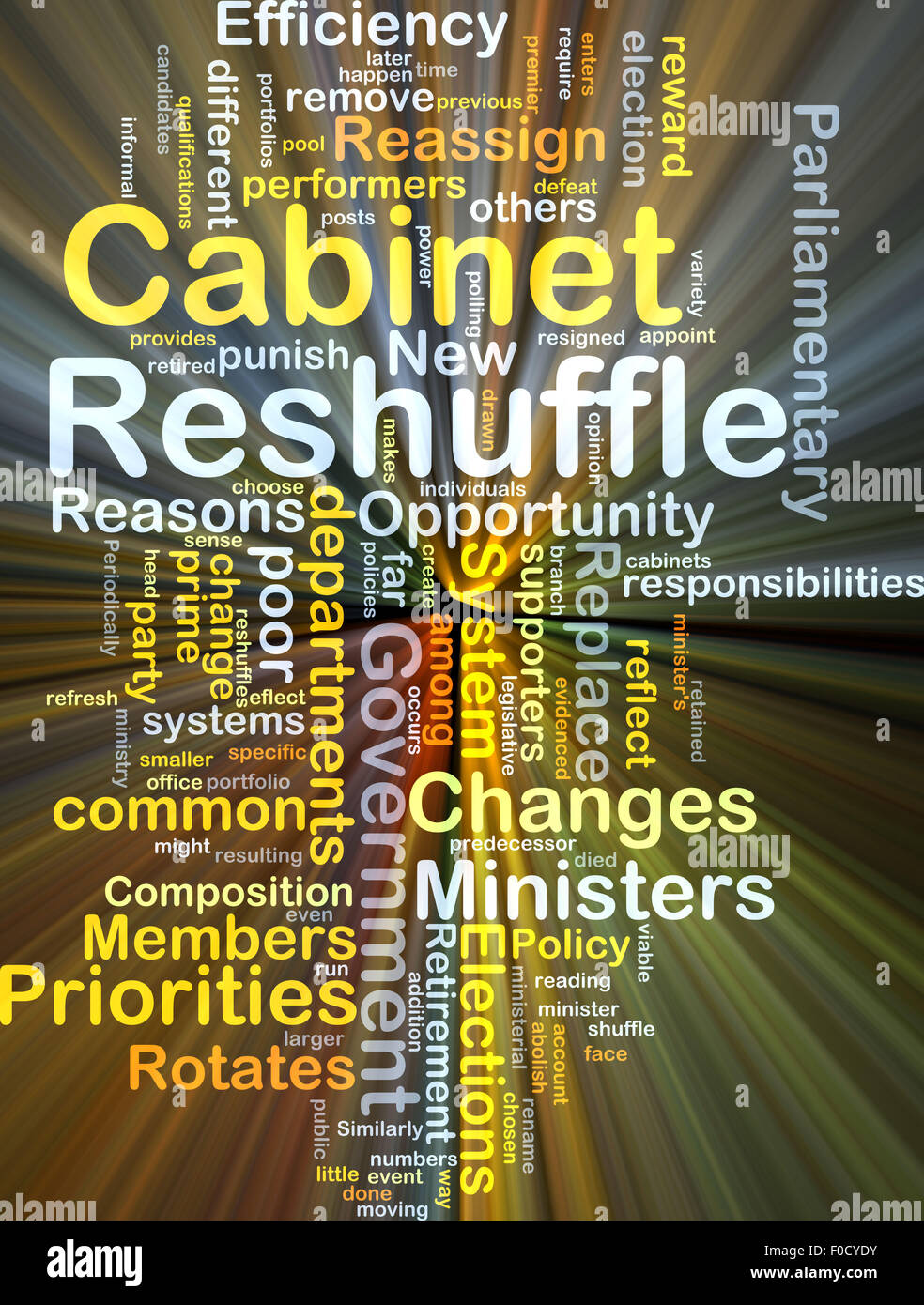 Background concept wordcloud illustration of cabinet reshuffle glowing light - Stock Image