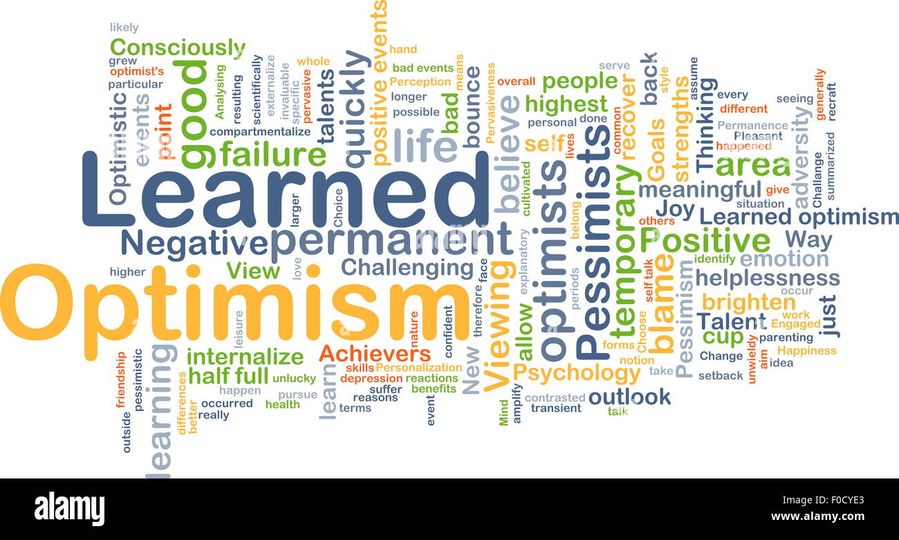 Background concept wordcloud illustration of learned optimism - Stock Image