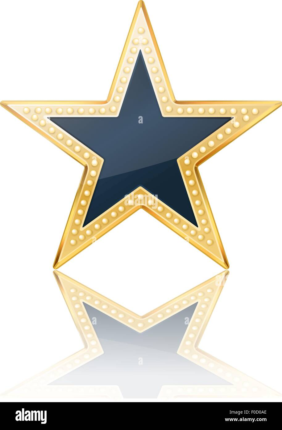 dark blue star with golden frame on white Stock Vector Art ...