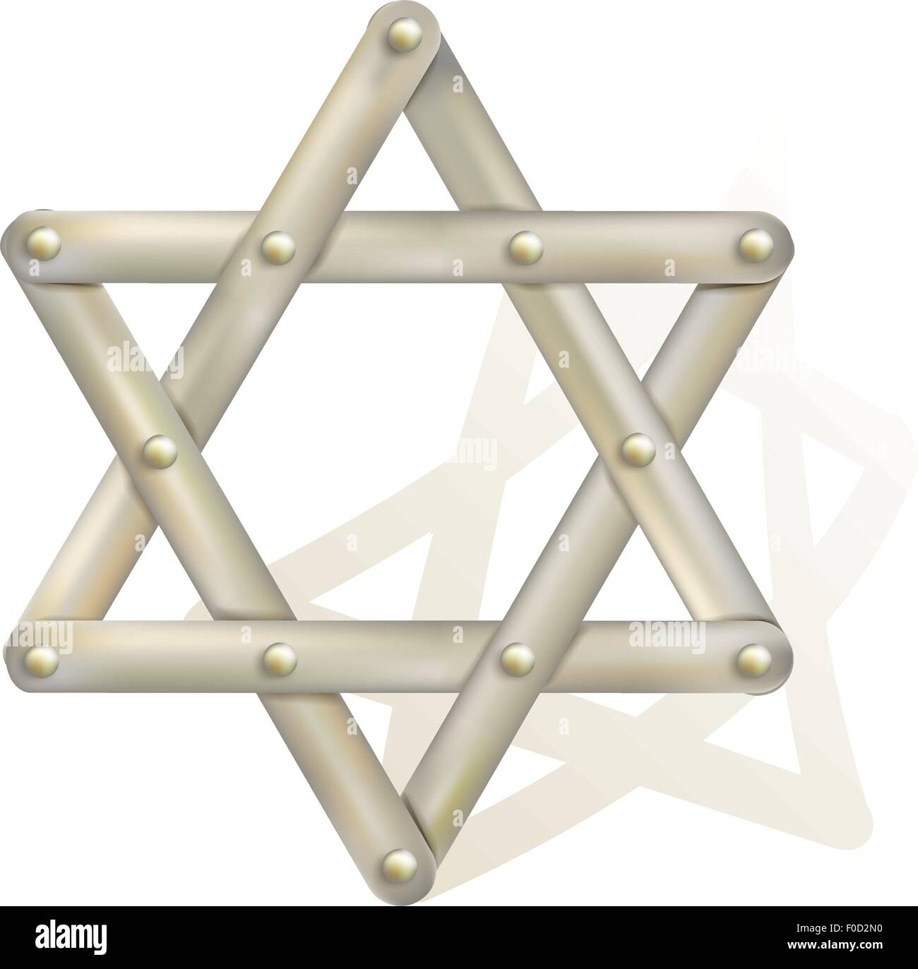 metallic star of David as symbol of judaism - Stock Image