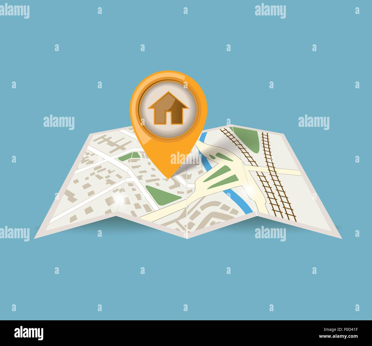 map icon with pointer on blue background - Stock Image