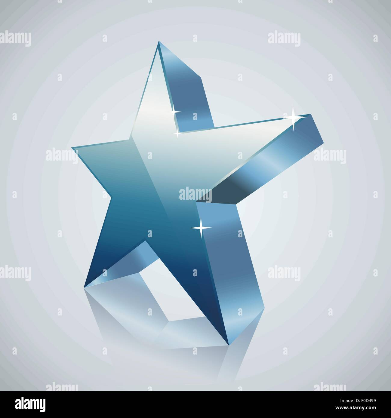blue star with reflection - Stock Image