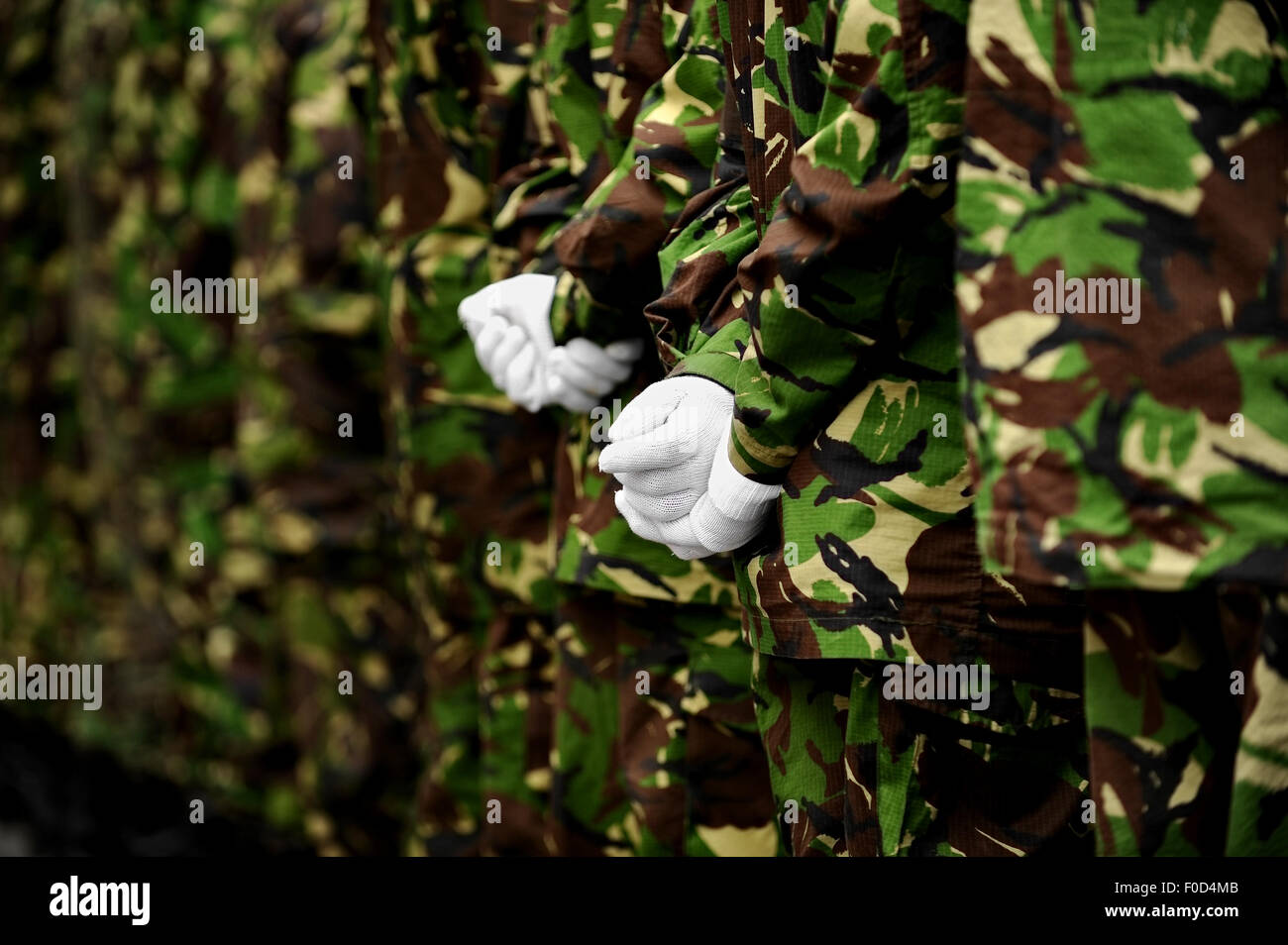 Two soldiers in camouflage uniform with hands behind their backs - Stock Image