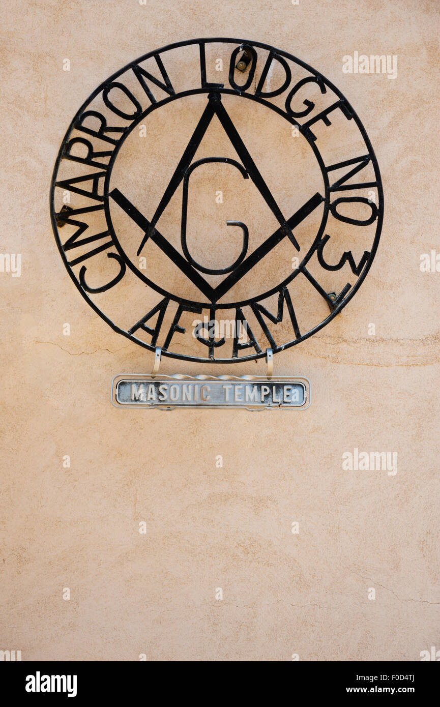 The Freemason Masonic Temple Lodge in Cimarron, NM, New Mexico, USA, United States - Stock Image