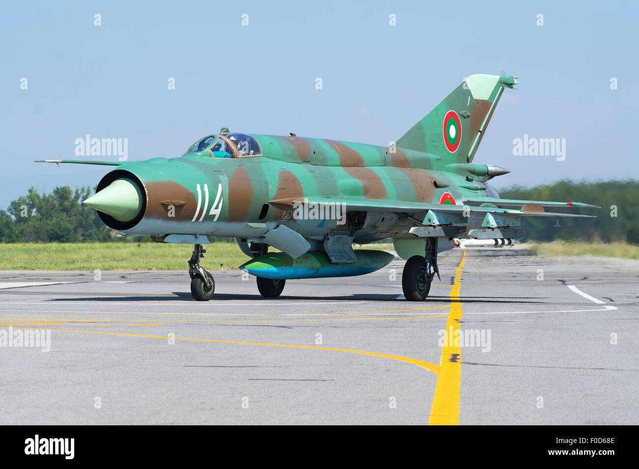 Bulgarian Air Force MiG-21bis taxiing at Graf Ignatievo Air Base, Bulgaria, during Exercise Thracian Star 2015. - Stock Image