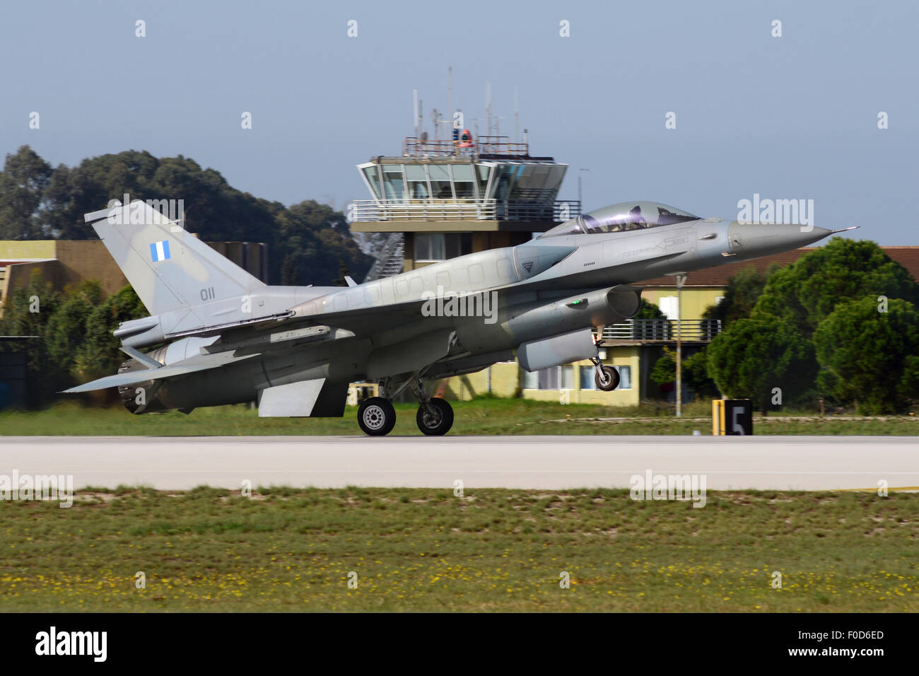 Hellenic Air Force F-16D Block 52 with conformal fuel tanks landing at Araxos Air Base, Greece. - Stock Image