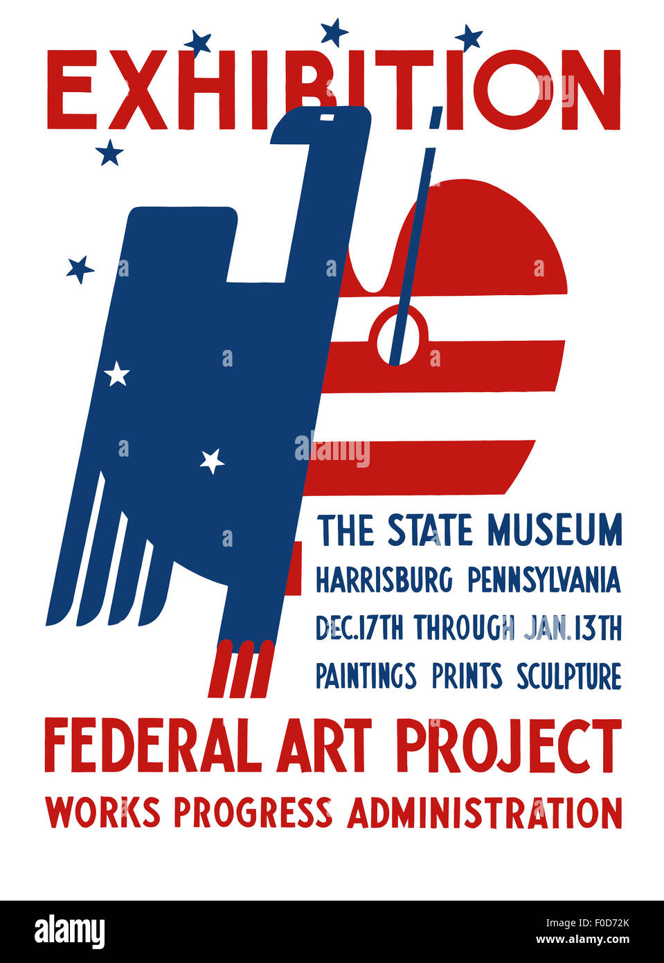 Vintage Wpa Poster Features A Red White And Blue Eagle It Reads
