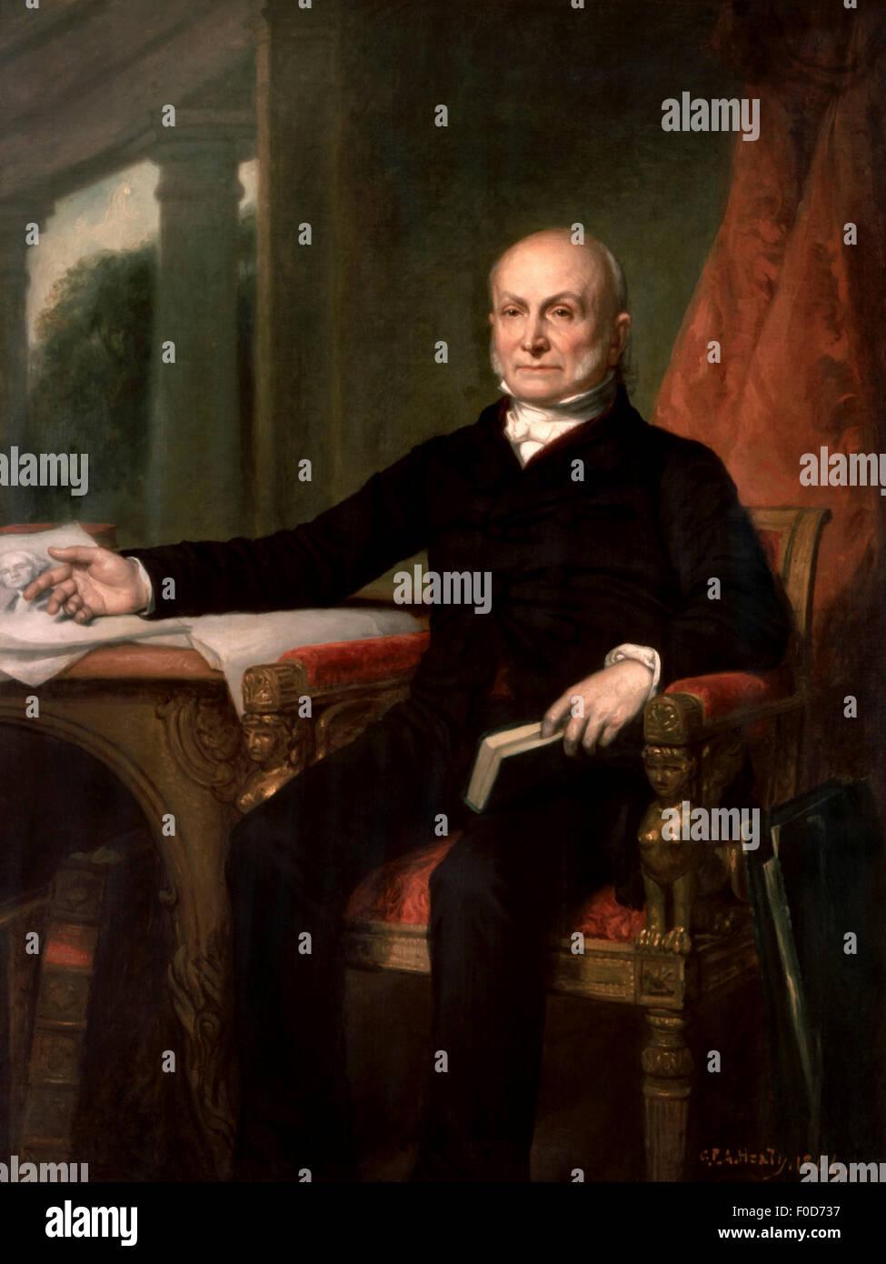 Vintage American history painting of President John Quincy Adams. Original by George Peter Alexander Healy. Stock Photo