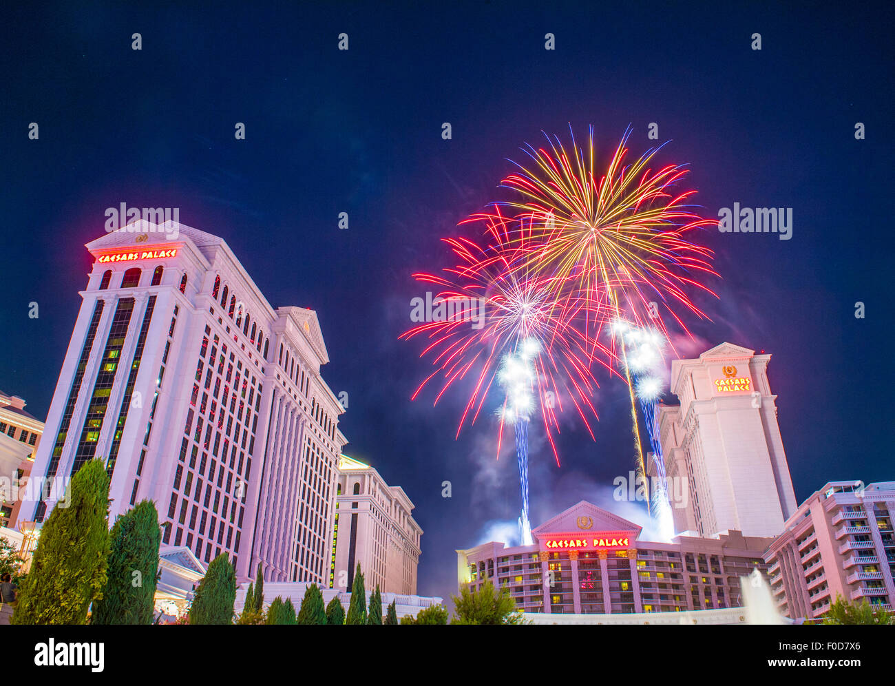 LAS VEGAS - JULY 04 : The Caesars Palace fireworks show as part of the 4th of July celebration in Las Vegas on July Stock Photo