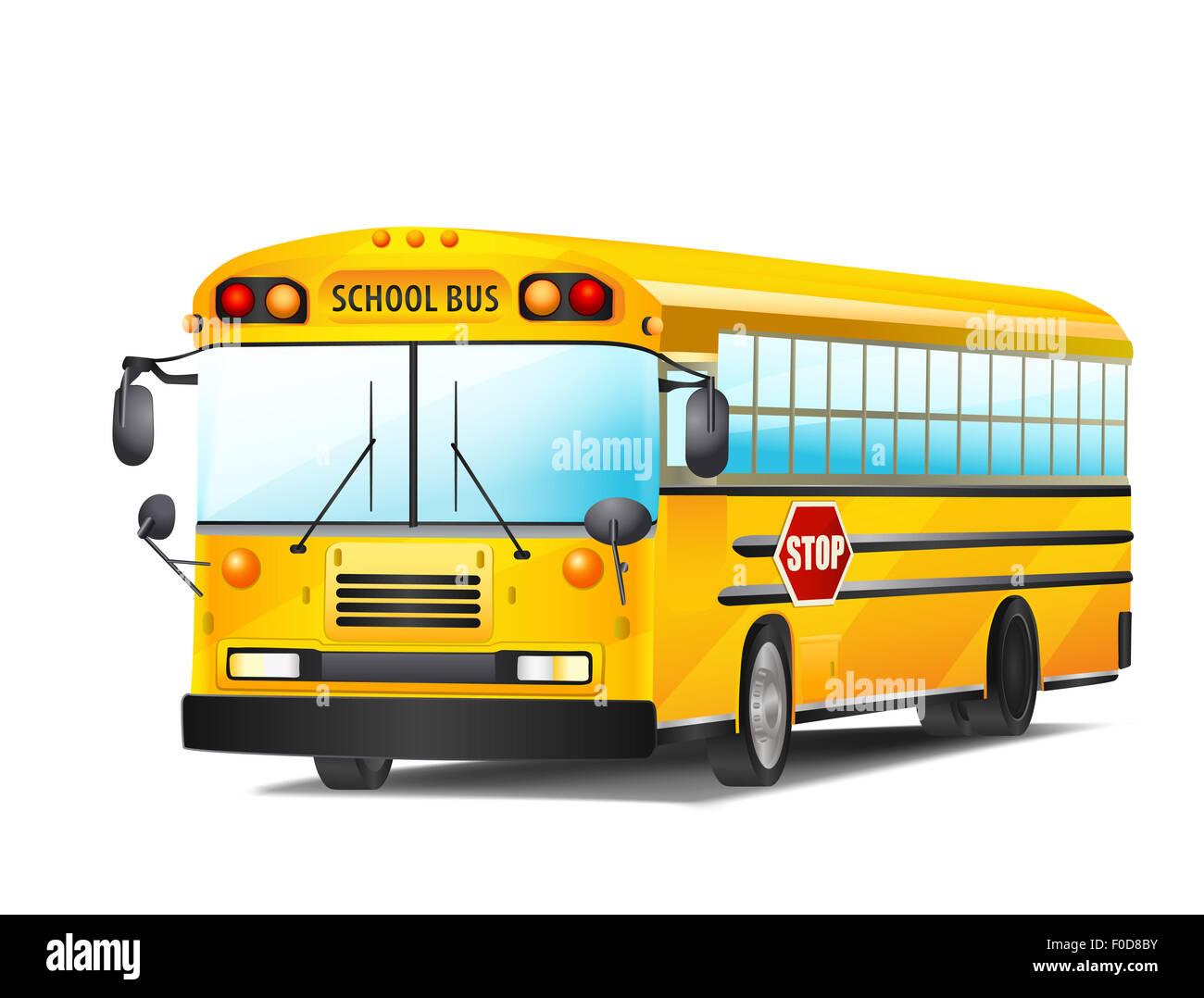 school bus on white. raster illustration - Stock Image