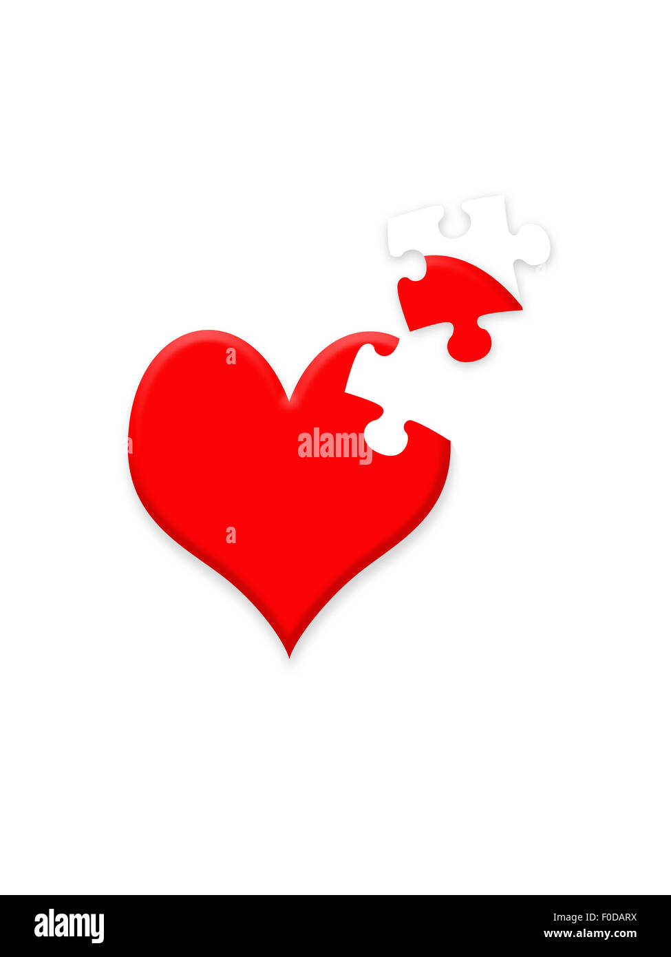 Valentine illustration showing heart with missing jigsaw piece - Stock Image