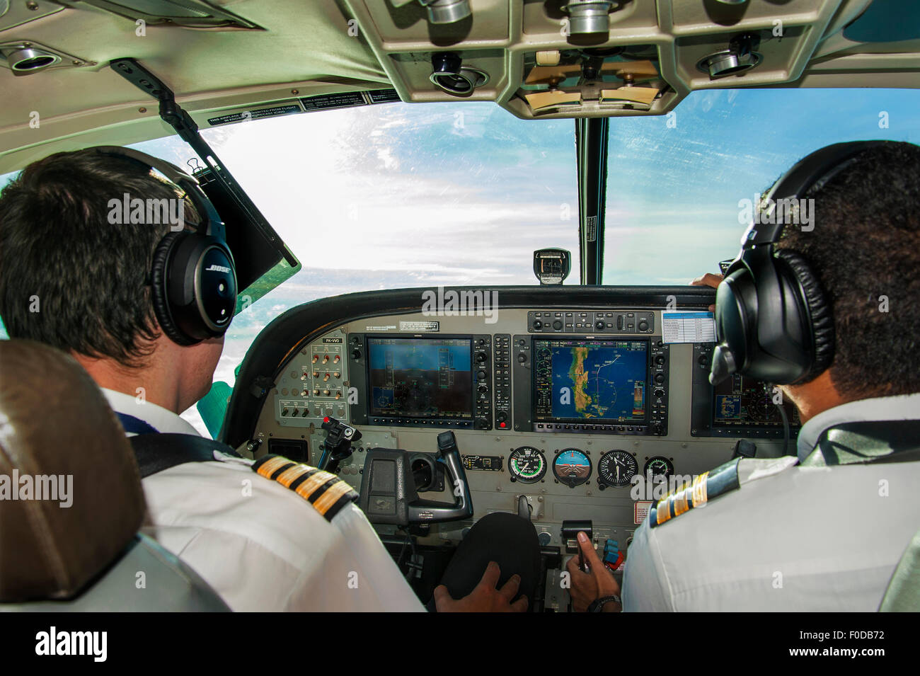 Cessna 208-B cockpit, turboprop, Maluku Islands, Indonesia - Stock Image